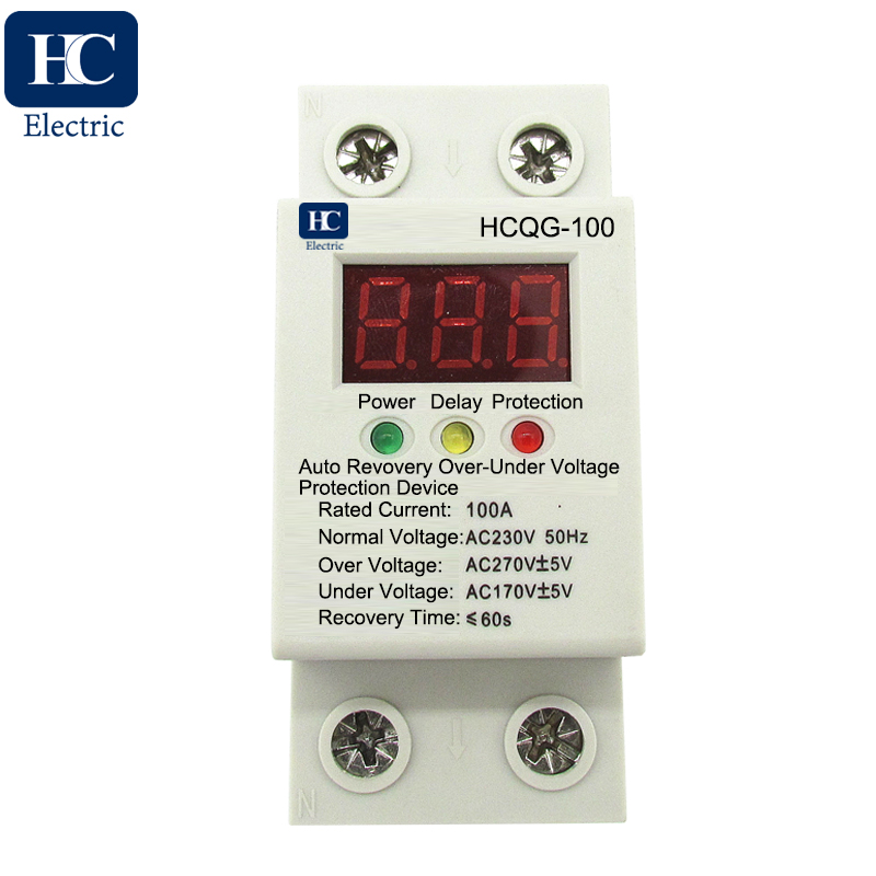 230V auto recovery over and under voltage protection device with automatic reconnect protective relay with voltmeter showing real time voltage