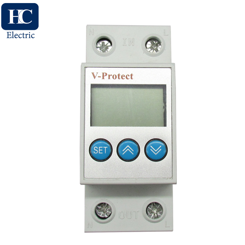 Adjustable 230V auto recovery over and under voltage protection device with automatic reconnect protective relay protector