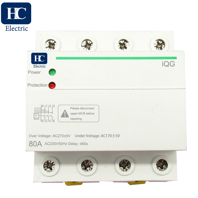 230V auto recovery over and under voltage protection device with automatic protective relay preventing disconnection of null line