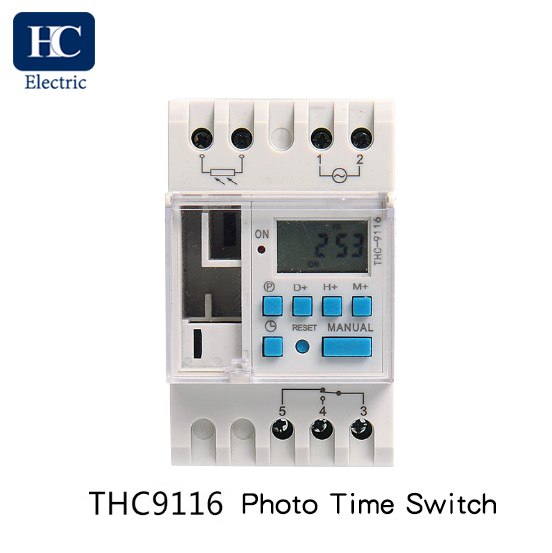 Weekly digital time switch with Photocell lighting control THC 9116