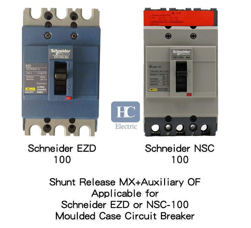 MX shunt trip release, Applicable for Easypact SquareD EZD, Osmart NSC, rated current 100A trip voltage 24V DC 220V AC 380V AC