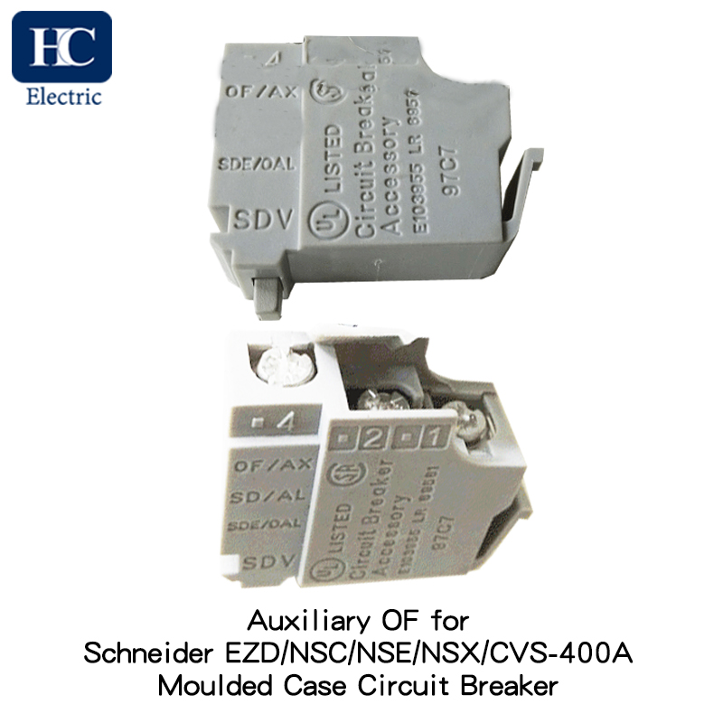 Standard auxiliary contact, circuit breaker status OF-SD-SDE-SDV, 1 single contact Applicable for Easypact SquareD EZD, Osmart NSC Moulded Case Circuit Breaker (MCCB), rated current 400A